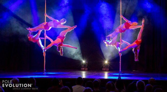 Studio Verve instructors in the opening act for the recent Sydney Pole Show 'ELEMENTS'