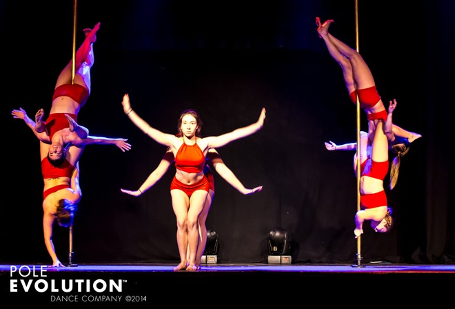 Studio Verve instructors rehearsing for the opening act for the recent Sydney Pole Show 'ELEMENTS'