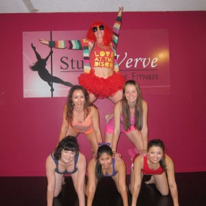 PoleFit Level 8 students celebrating week 8, Term 2 2913