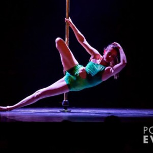 Instructor Jane performing at Pole Evolution's show 'ELEMENTS' Saturday 11 October 2014
