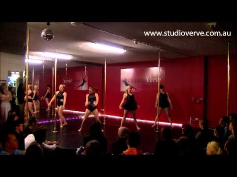 Radioactive - group pole dancing routine by instructors at Studio Verve